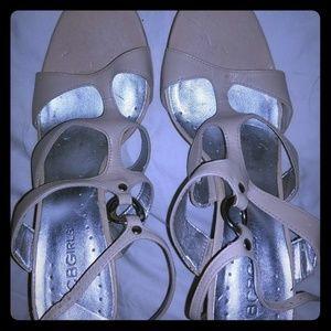 BCBGirls Cream Leather Strappy Sandals